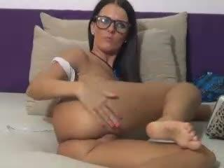 MissyHotGirl webcam sex video - Amazing dark-haired babe greedy plays tricks with her flaming loins