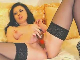 BlackRoseXXX webcam sex video - Hot brunette eagerly drills pussy with bright dildo